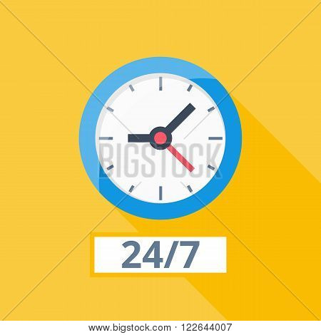 orange wall clock with shadow, simple time icon with color elements, every day work sign stopwatch blue clock