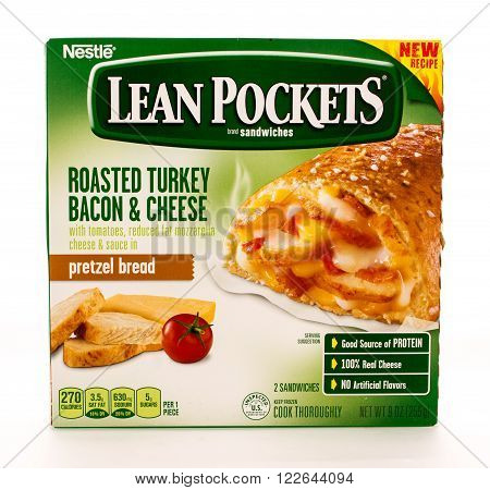 Winneconni WI - 13 June 2015: Box of Lean Pockets in roasted turkey bacon and cheese flavor.