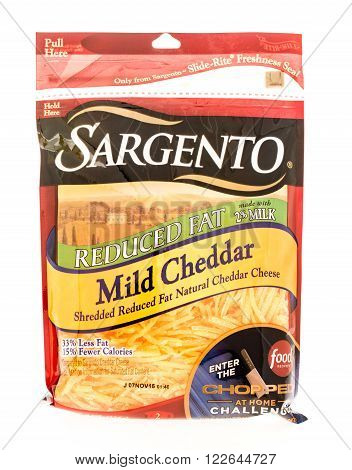 Winneconne WI - 7 August 2015: Package of Sargento mild cheddar cheese.
