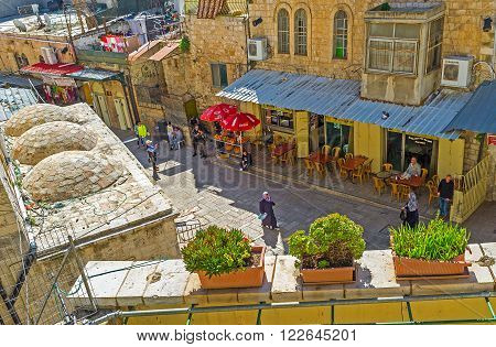JERUSALEM ISRAEL - FEBRUARY 16 2016: The Austrian Hospice is the perfect viewpoint overlooking some area in Via Dolorosa street on February 16 in Jerusalem.