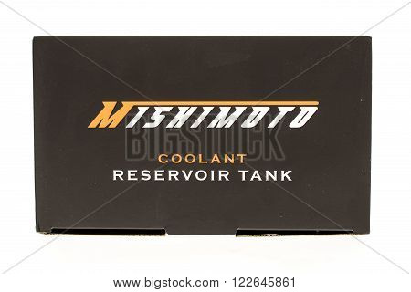Winneconni WI - 7 June 2015: Box that contains Mishimoto coolant reservoir tank