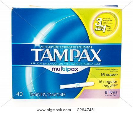 Winneconni WI - 14 June 2015: Package of Tampax cardbord applicator tampons.