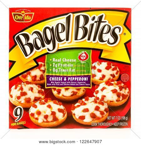 Winneconne, WI -19 Sept 2015: Box of Bagel Bites made by Ore Ida in cheese and pepperoni flavor.