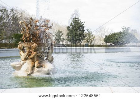 fountain of the goddess ceres parterre in the garden of the palace of Aranjuez in Spain