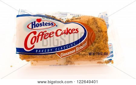 Winneconni WI - 16 June 2015: Package of Hostess coffee cakes