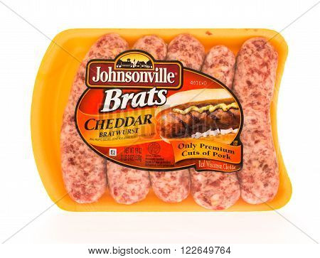 Winneconni WI - 23 June 2015: Package of Johnsonville brats in cheddar flavor.