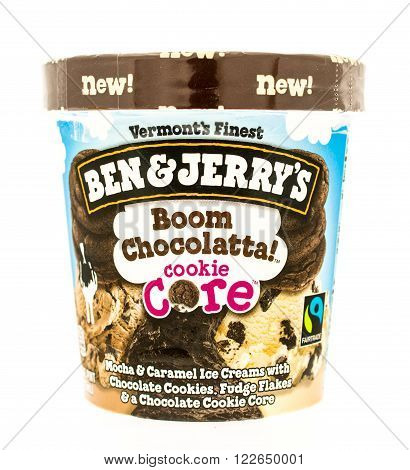 Winneconni WI - 19 July 2015: Container of Ben & Jerry's ice cream in Boom Chocoalatta cookie core flavor.