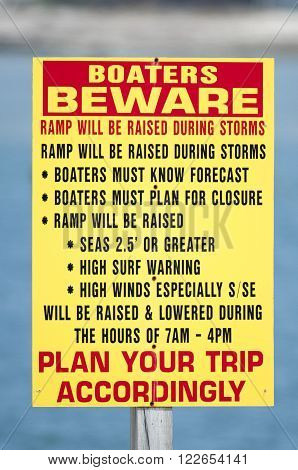 FAIRHAVEN MASSACHUSETTS/USA - APRIL 11 2014: Detailed sign lets boaters reminds boaters to plan ahead