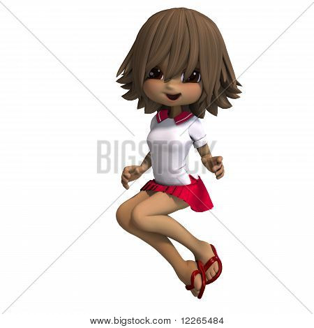 cute little cartoon school girl has a lot of fun. 3D rendering with clipping path and shadow over white poster
