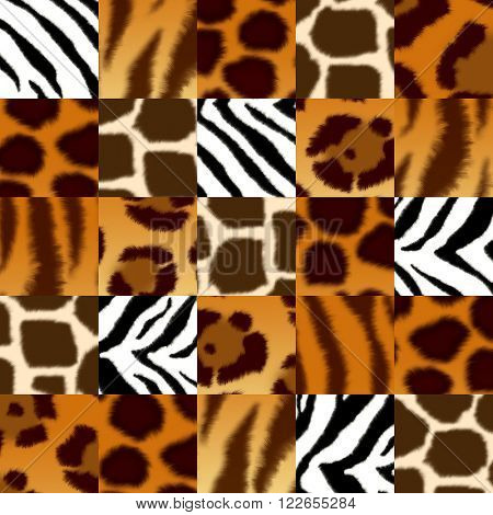 Seamless background with illustration of fluffy skin wild animal: jaguar; leopard; cheetah; giraffe; tiger; zebra. Endless texture can be used for pattern fills, web page background, surface textures