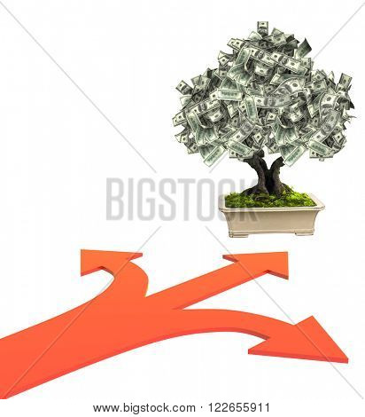 3d money tree dollar banknotes and three bound arrows of red color, specifying different directions. Isolated on white background