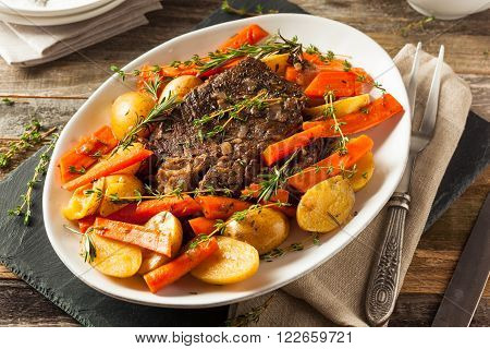 Homemade Slow Cooker Pot Roast with Carrots and Potatoes poster