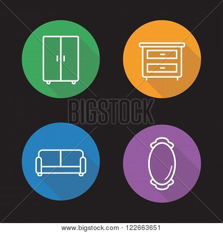 Room interior flat linear icons set. Couch, wall mirror, cabinet and bedside table symbols. Home decoration furniture signs. Long shadow outline logo concepts. Vector line art illustrations