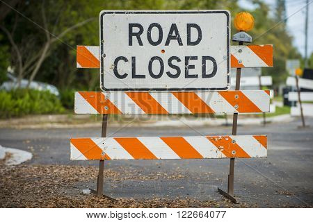 Road closed signs detour traffic temporary