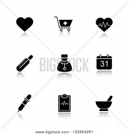 Medical drop shadow black icons set. Hospital cardiology center. Thermometer, doctor, and homeopathy symbols. Pharmacy store and alternative medicine herbs. Logo concept. Vector isolated illustrations