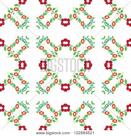 Seamless colorful red and orange flower tradional ornament background patter
