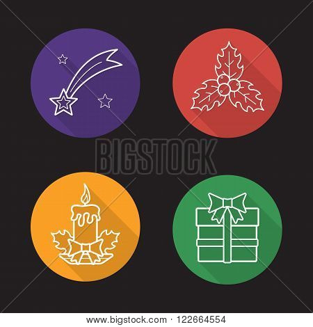 Christmas flat linear icons set. Bethlehem falling star, mistletoe holly berries with leafs, holiday candle, new year present. Long shadow outline logo concepts. Vector line art illustrations