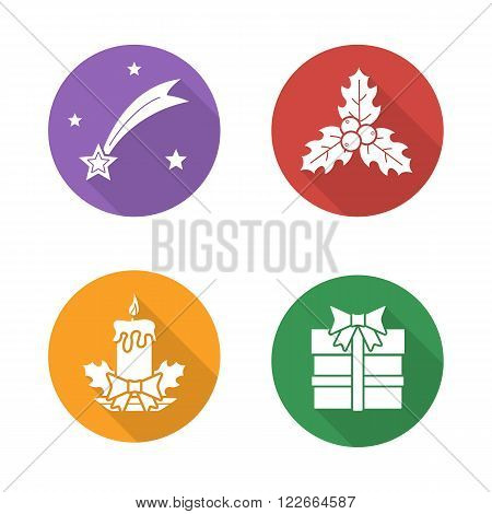 Christmas flat design icons set. Bethlehem falling star, mistletoe holly berries with leafs, holiday candle, new year present. Long shadow logo concepts. Vector white silhouette illustrations