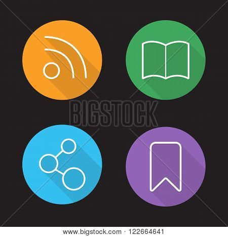 Web browser interface linear icons set. Rss feed. Add to bookmark. Network connection and book pictograms. Internet browsing app ui long shadow outline symbols. Vector white line illustrations