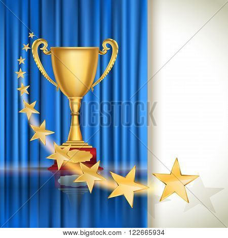 Golden sports cup on blue curtain background with flying stars. vector illustration