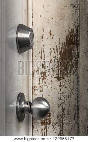 door knobs door lock peeled paint old door