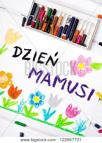 Colorful drawing - Polish Mothers Day card with words