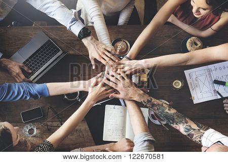 Team Unity Friends Meeting Partnership Concept