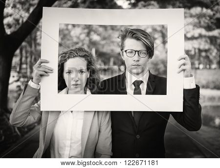 Business People White Picture Frame Concept