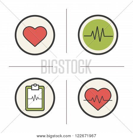 Cardiology color icons set. Heart shape, cardio monitor, ecg curve and heartbeat symbols. Health care and medical symbols. Logo concepts. Heart care infographic elements. Vector isolated illustrations