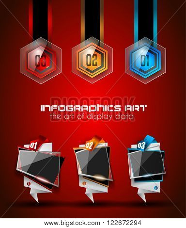 Infographics complex layout with option buttons and hand drawn sketch background for data and information analysis with a number of solutions available. Ideal for product presentation, item ranking.