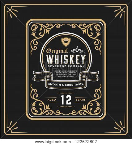 Vintage frame label for whiskey and beverage product. You can apply this for another product such as Beer Wine Shop decoration Luxury and Elegant business too. Vector illustration