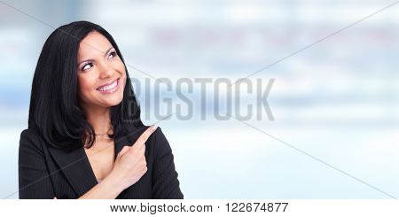Asian business woman showing copy space.