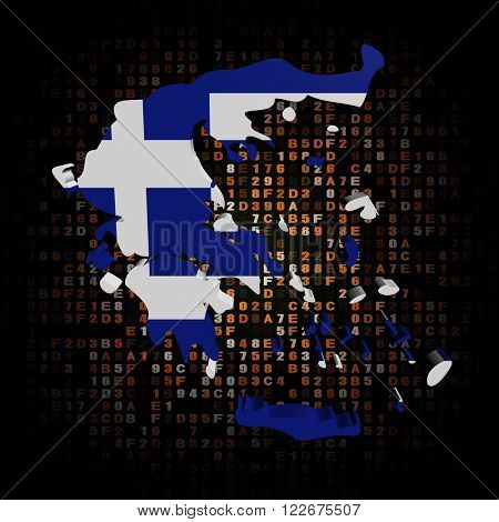 Greece map flag on hex code illustration