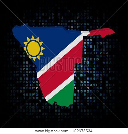 Namibia map flag on hex code illustration