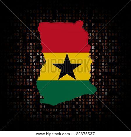 Ghana map flag on hex code illustration