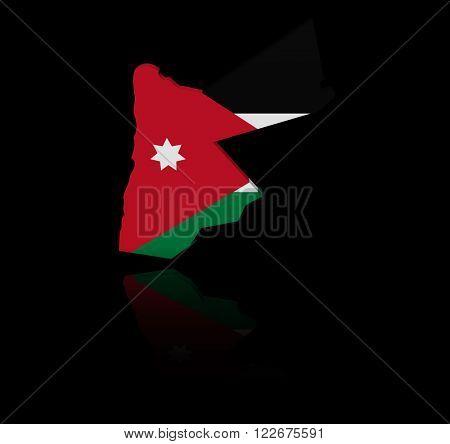 Jordan map flag with reflection illustration