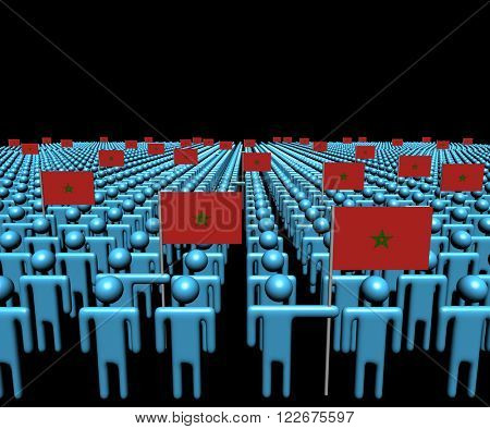 Crowd of abstract people with many Moroccan flags illustration