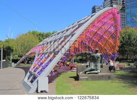 MELBOURNE AUSTRALIA - MARCH 20, 2016: Unidentified people visit National Gallery of Victoria. National Gallery of Victoria know as NGV is the oldest art museum in Australia founded in 1863