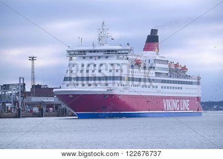 Helsinki, Finland - March, 14, 2016: cruise ship in a sea near Helsinki, Finland