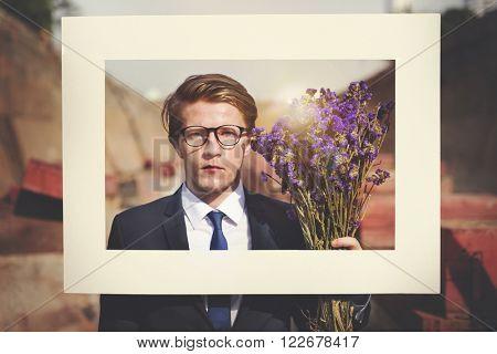 Businessman Frame Posing Flower Concept