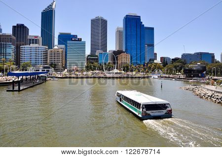PERTH,WA,AUSTRALIA-FEBRUARY 13,2016: Transperth ferry boating across the Swan River into the artificial inlet Elizabeth Quay in Perth, Western Australia.
