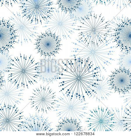 Vector seamless pattern with stylized mandalas and flowers in pastel blue colors.