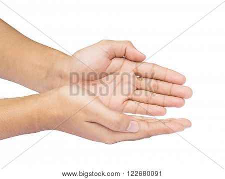 Two hand holding or offering something isolated on white background