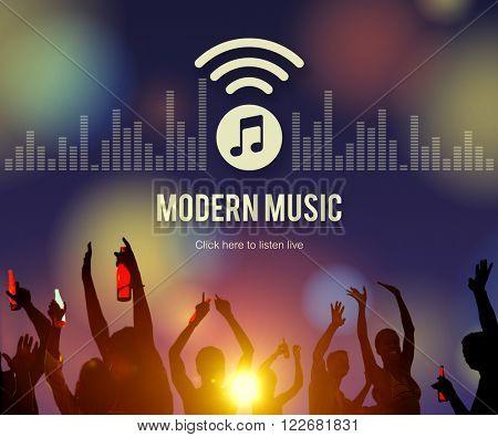 Modern Music Digital Listening Motion Stylish Concept