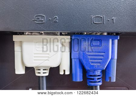 DVI and VGA or D-SUB cable for LCD and CRT monitors connect computer PC