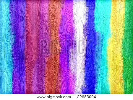 Colorful painted wood wall texture or background