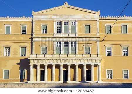 Parliament of Greeks in centre of Athens poster