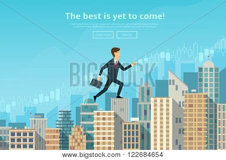 Confident businessman walking up the career stairs. Concept of web banner with person walking to the success. Modern flat design of urban landscape with city buildings, vector illustration.vector illustration.