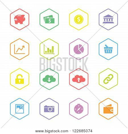 colorful flat finance and technology icon set with hexagon frame for web design uset interface (UI) infographic and mobile application (apps)