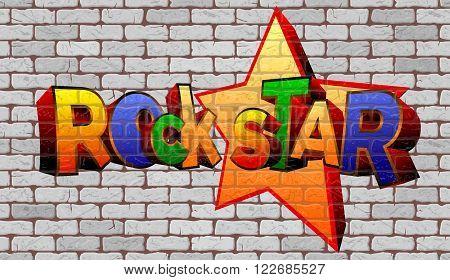 Graffiti rock star on the wall of white brick